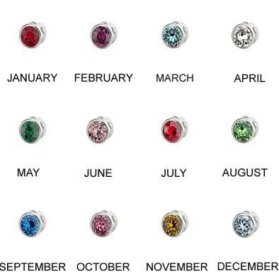 Crystal in Metal Round Birthstones