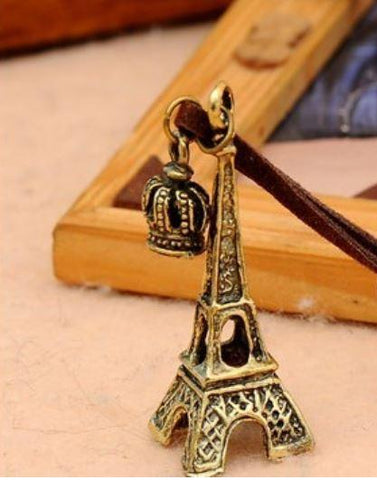 Eiffel Tower - Gold, Brown Suede Strap