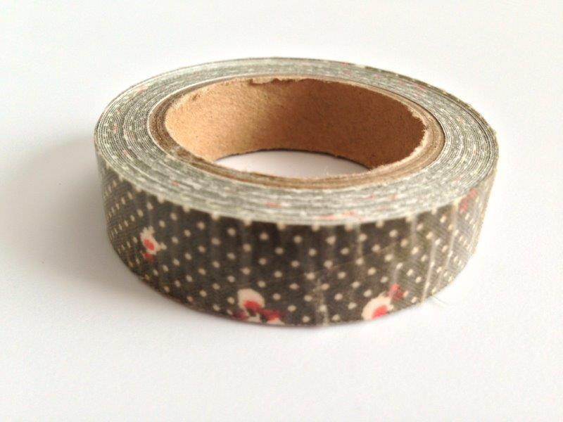 Fabric Tape - Floral, Dots Brown