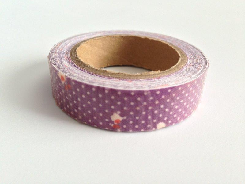 Fabric Tape - Floral, Dots Purple