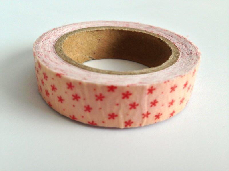 Fabric Tape - Red Stars Pink
