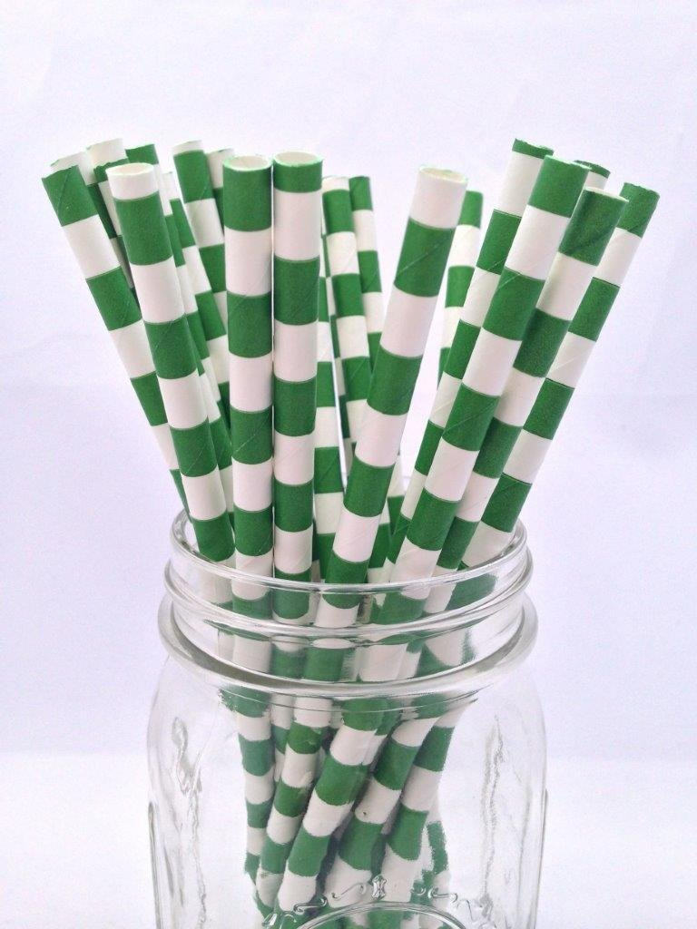 Forest Green Hortizontal Stripe Paper Straws 25pack