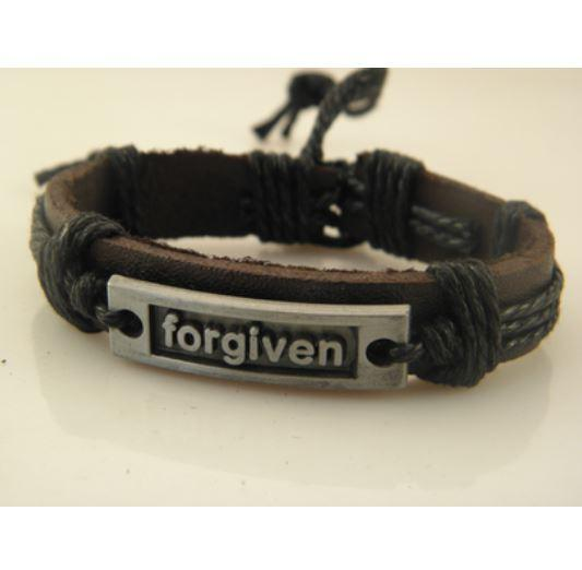 Forgiven Black Leather Bracelet