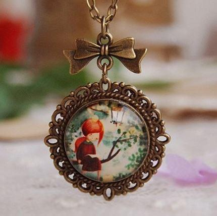 Glass Pendant Necklace - Girl in Forest