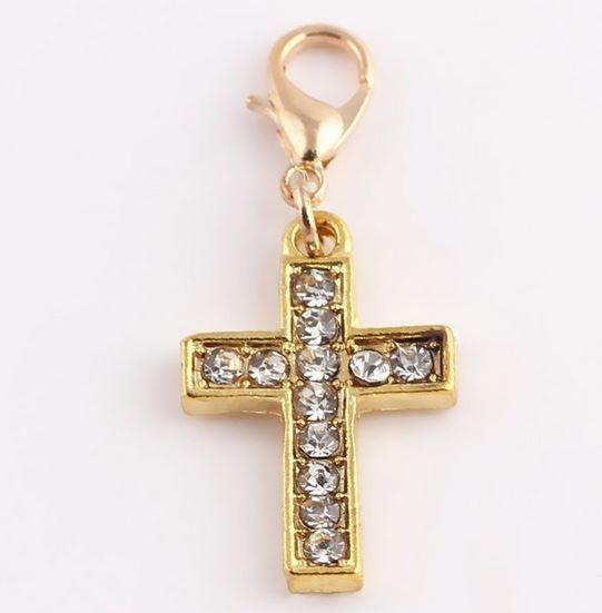 Gold Crystal Cross Pendant Tag