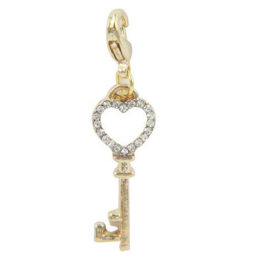 Gold Heart Crystal Key Pendant Tag
