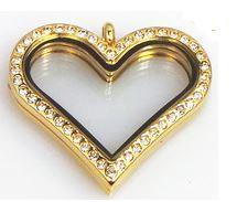 Gold Heart Crystal Rim Magnetic Locket 35mm