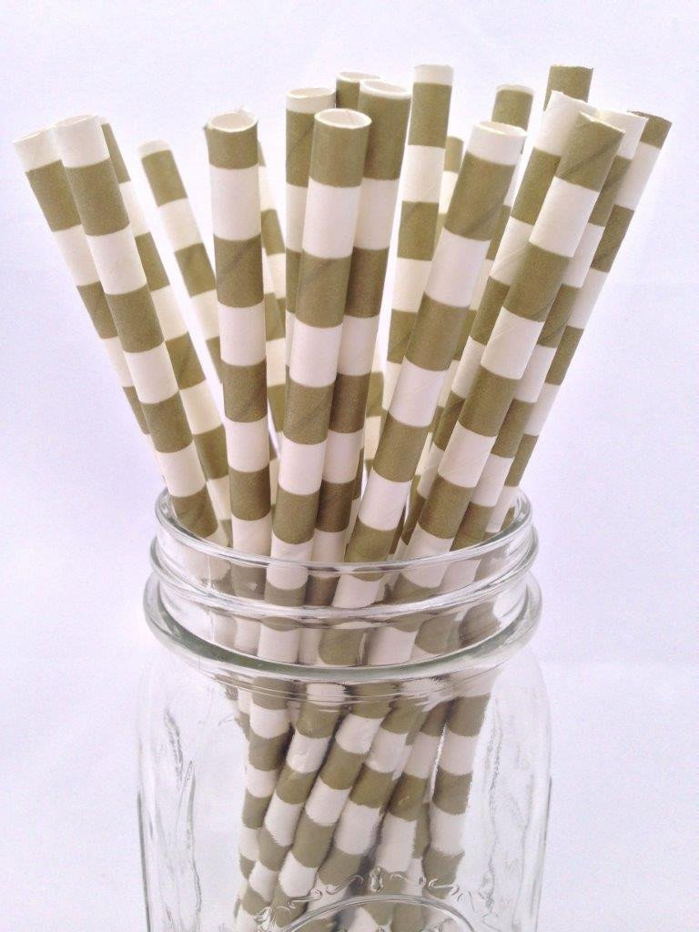 Gold Hortizontal Stripe Paper Straws 25pack