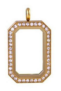 Gold Rectangular Crystal Rim Magnetic Locket 40mm