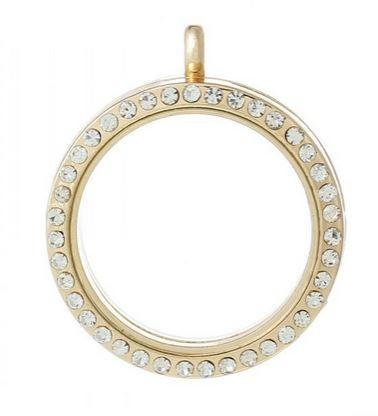 Gold Round Crystal Rim Magnetic Locket 30mm