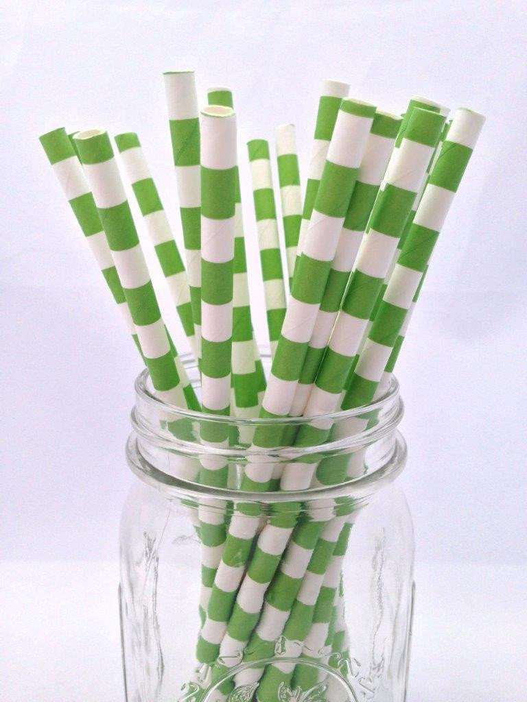 Green Hortizontal Stripe Paper Straws 25pack