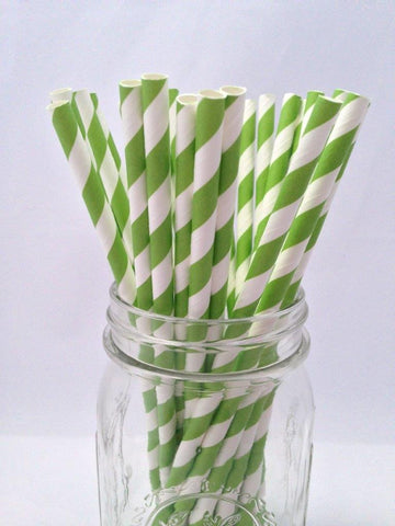 Green Striped Paper Straws, 25-pack
