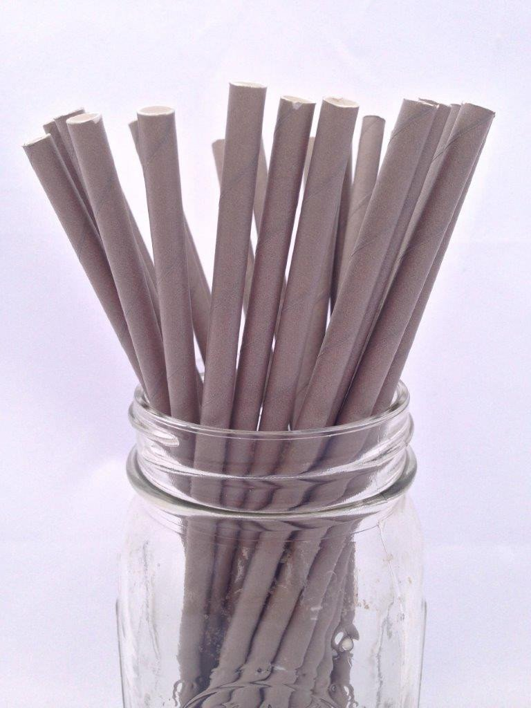 Grey Solid Paper Straws, 25-pack