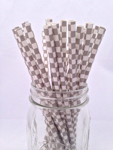 Grey Square Paper Straws, 25-pack