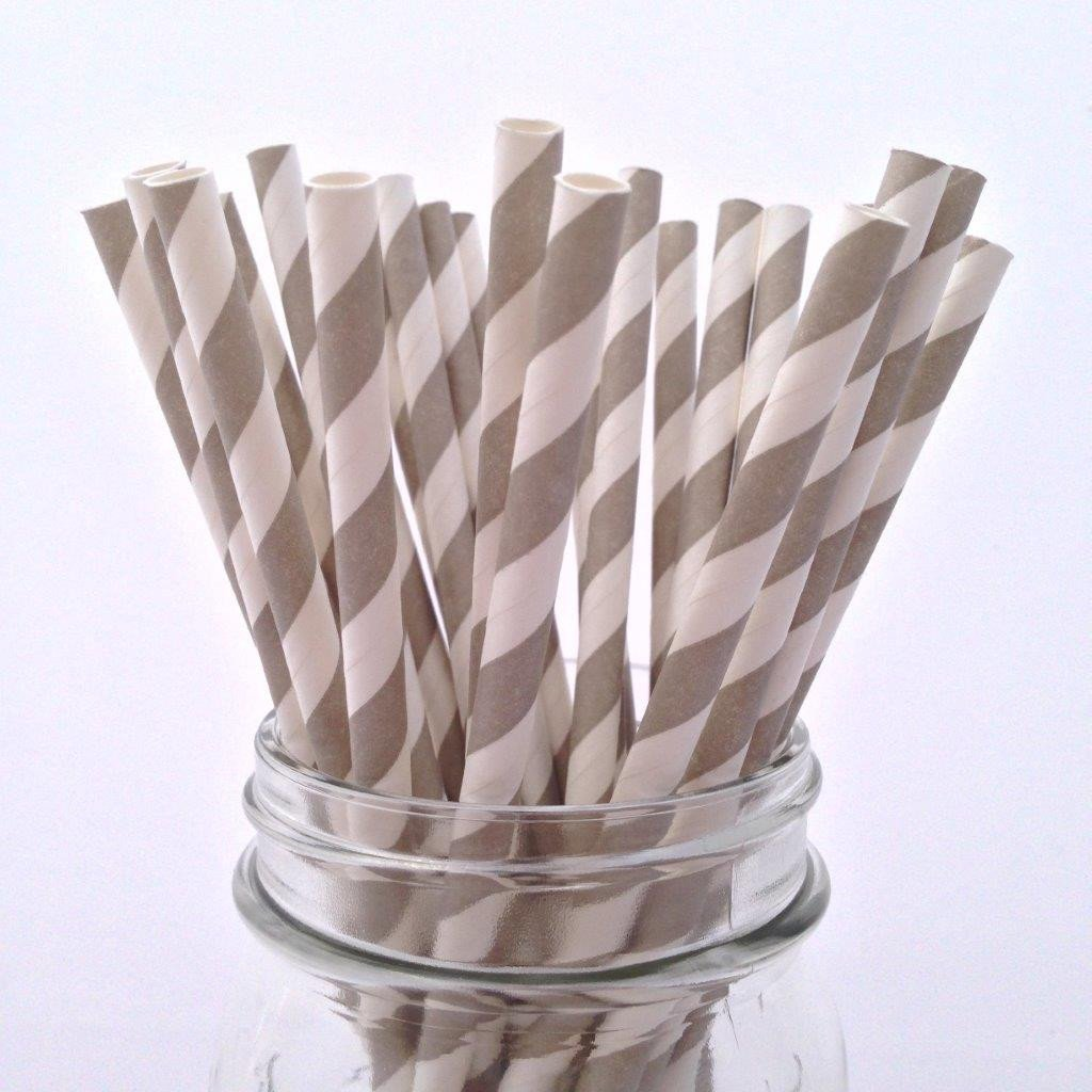 Grey Striped Paper Straws - 25-pack