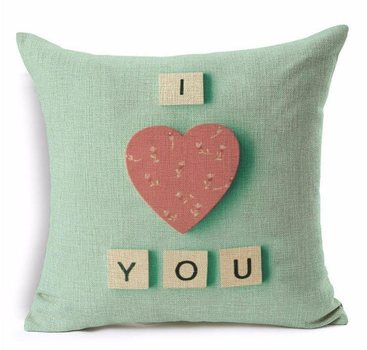 I Love You  Red Heart with Tiled Letters, PiIllow Cover