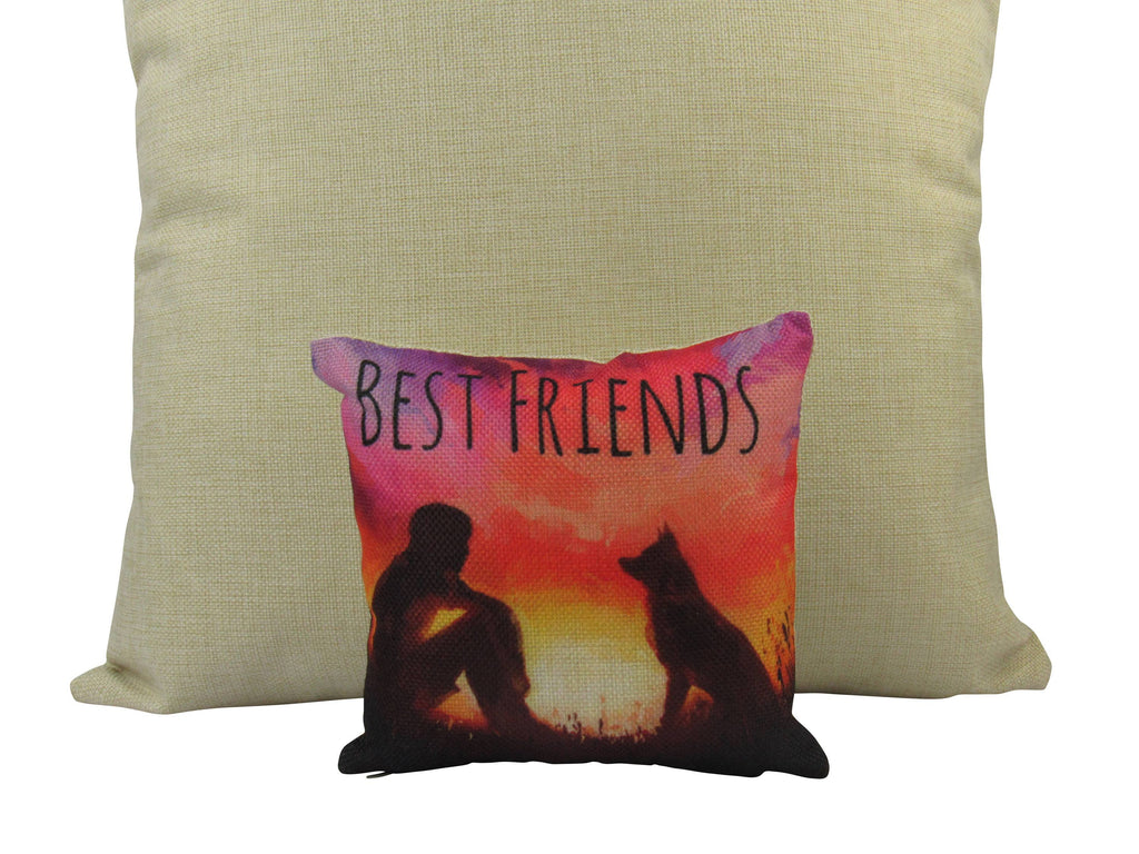 MINI: Best Friends Boy and Dog Painting  8x8 inch  PIllow & Insert