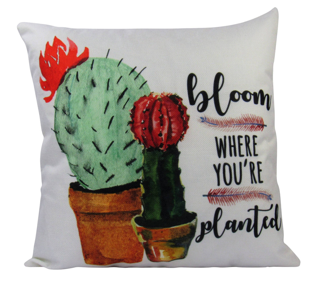 Bloom Where you're planted with adorable potted Cacti   Pillow
