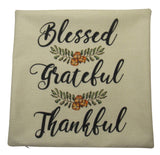 Blessed Grateful Thankful Fall floral on Beige