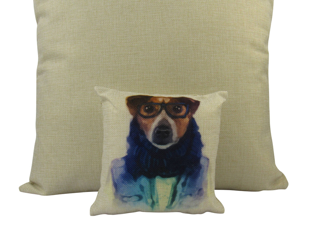 MINI: Hipster Dog  8x8 inch  PIllow & Insert