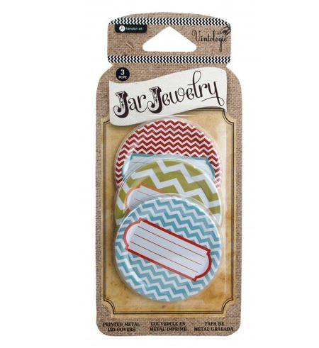 Hampton Art - Mason Jar Lid Cover - Chevron Prink
