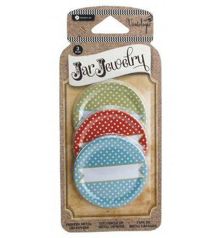Hampton Art - Mason Jar Lid Cover - Polka Dot Prink
