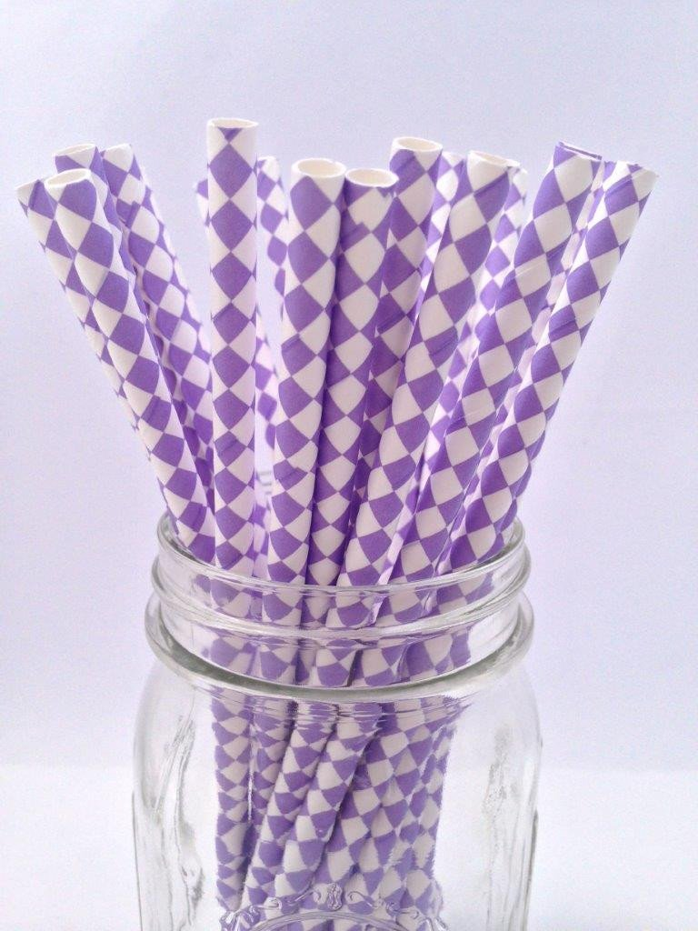 Lavender Diamond Paper Straws 25pack