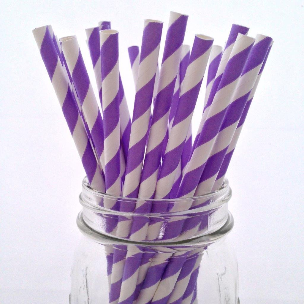 Lavender Striped Paper Straws - 25-pack