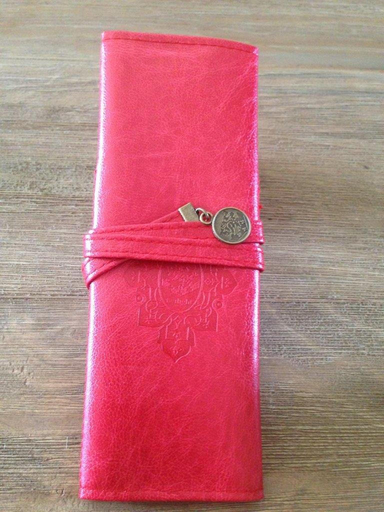 Leather-Like Red Wrap Pouch