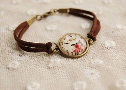 Leather Strap - Rose Clock Face