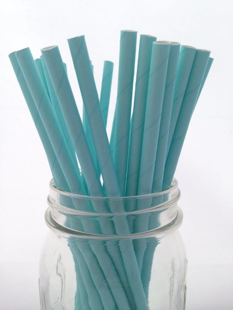 Light Blue Solid Paper Straws, 25-pack