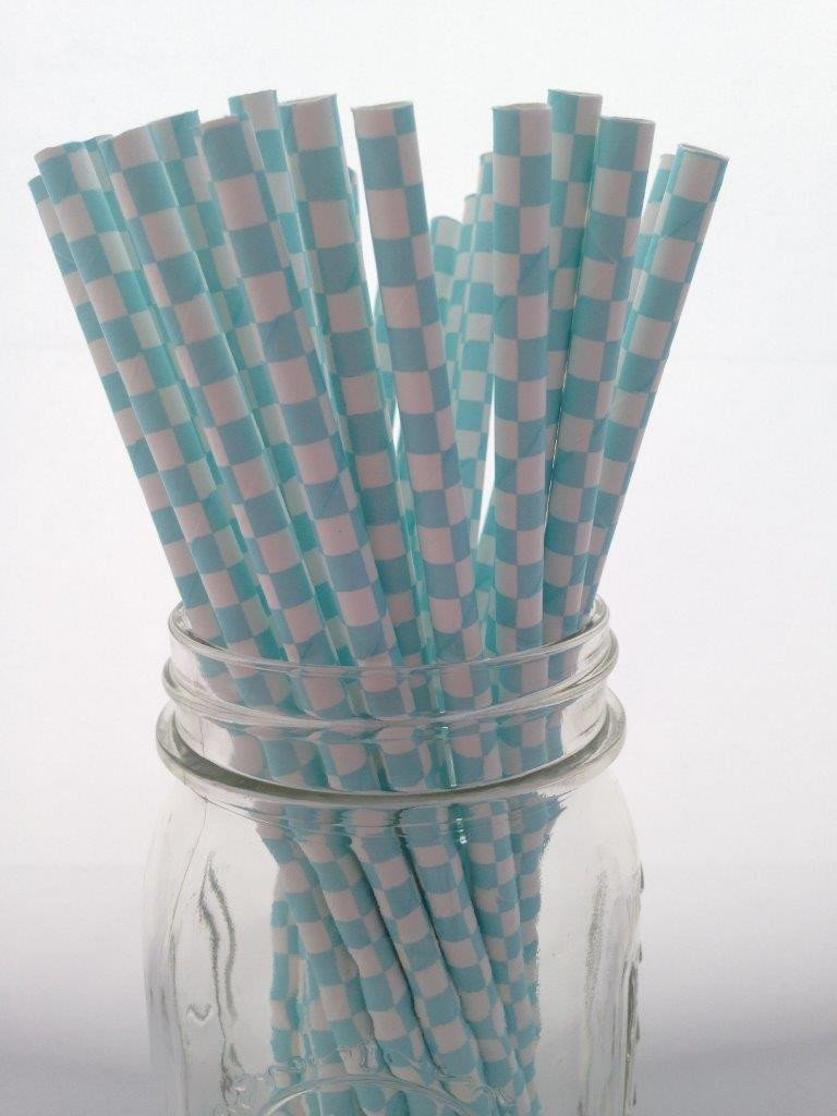 Light Blue Square Paper Straws, 25-pack