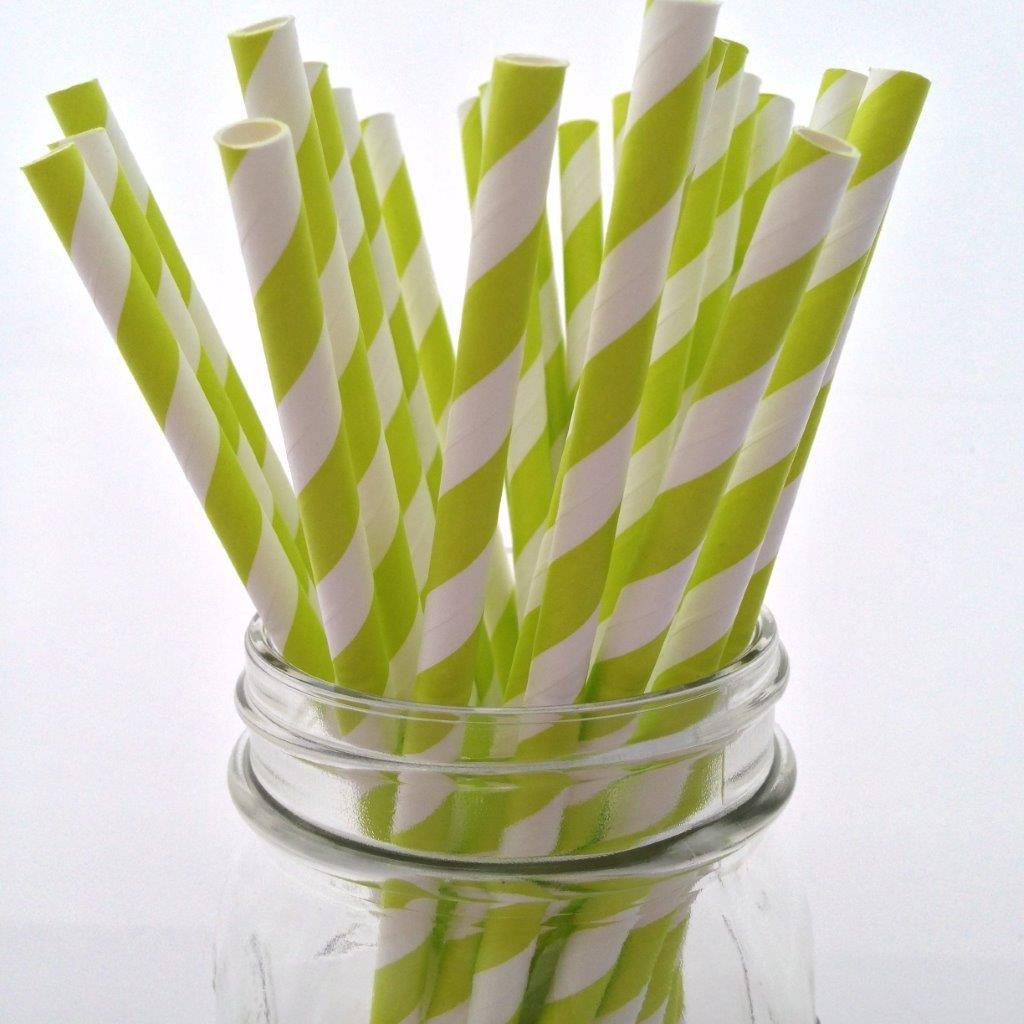 Lime Green Striped Paper Straws - 25-pack