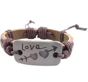 Love Arrow Brown Leather Bracelet