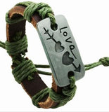 Love Arrow Green Leather Bracelet