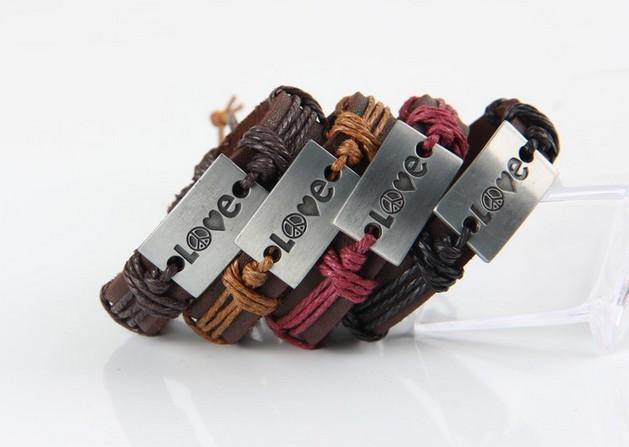 Love Peace Black Leather Bracelet