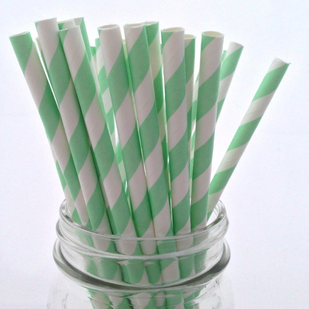 Mint Striped Paper Straws - 25-pack