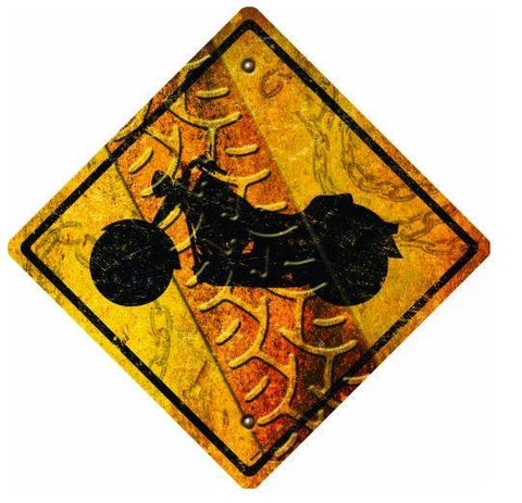 Motorcycle Crossing Tin Sign