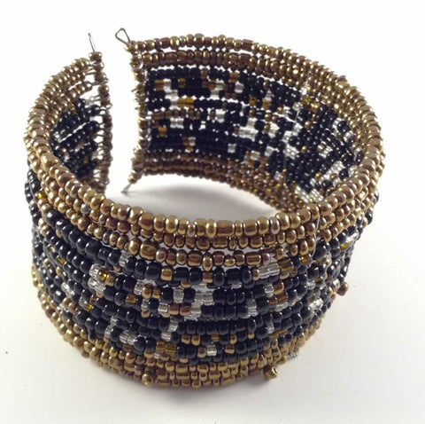 Multi-Layer Beaded Gold Black