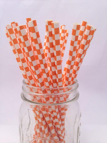 Orange Square Paper Straws, 25-pack
