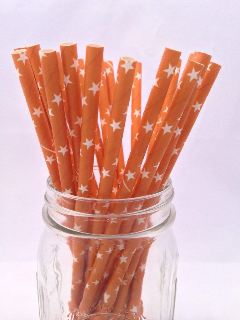 Orange Stars Solid Paper Straws, 25-pack
