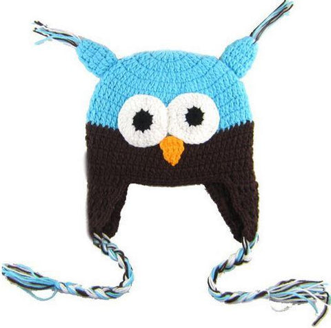 Owl - Blue, Dark Brown
