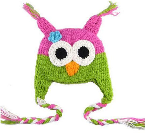Owl - Dark Pink - Green