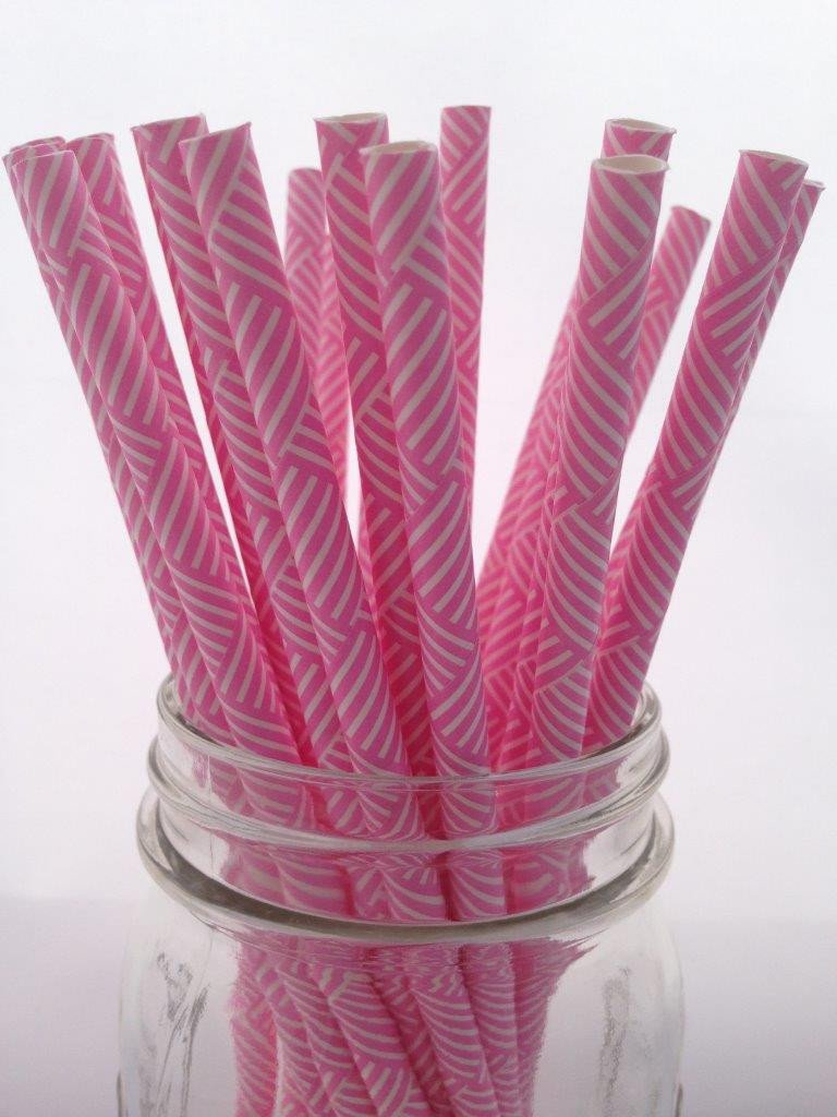 Pink Criss-Cross Paper Straws, 25-pack