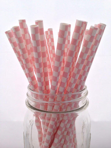 Pink Square Paper Straws, 25-pack