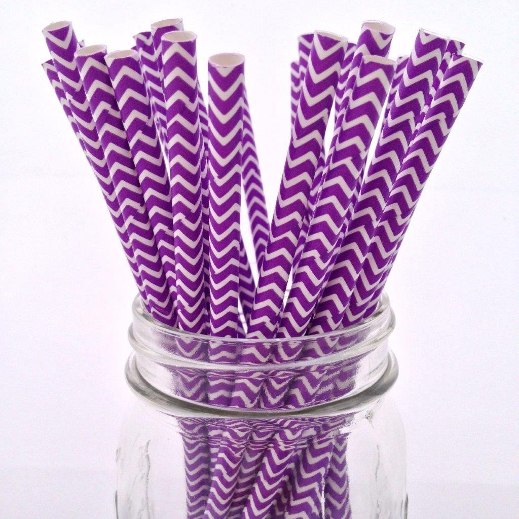 Purple Chevron Paper Straws - 25-pack