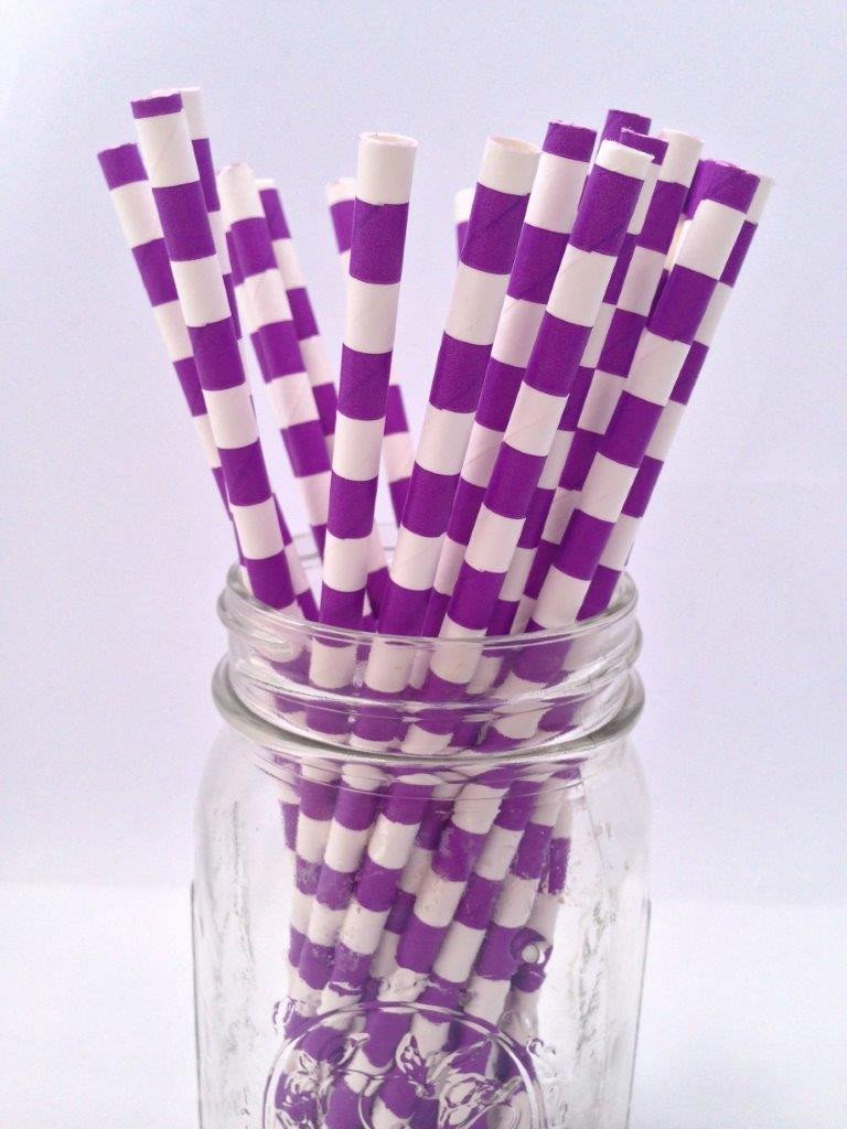 Purple Hortizontal Stripe Paper Straws 25pack