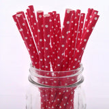 Red Mini Dots Solid Paper Straws - 25-pack