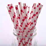 Red Polka Dots Paper Straws - 25-pack