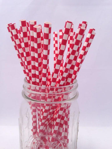 Red Square Paper Straws, 25-pack